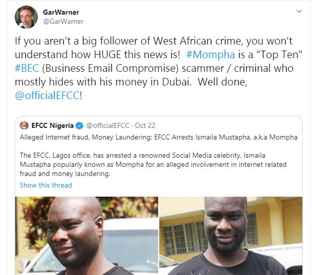Mompha is a top 10 Business Email Compromise scammer -  U.S Computer Forensics Researcher, Gar Warner commends EFCC on his arrest lindaikejisblog 1