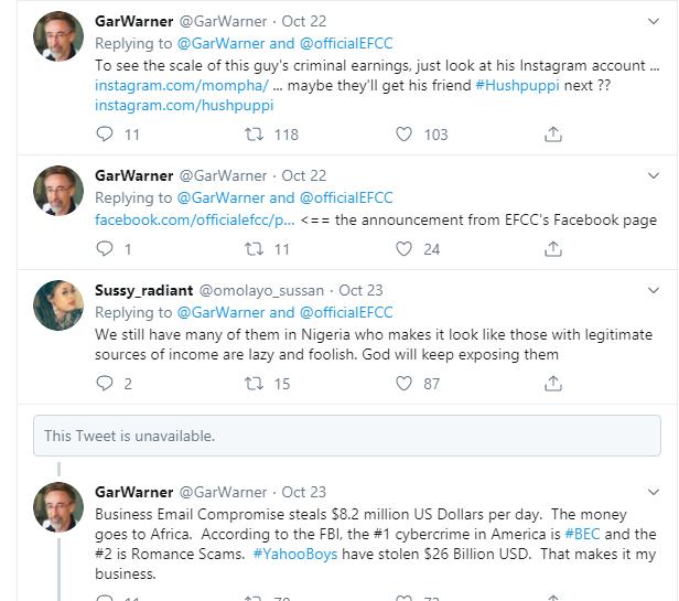 Mompha is a top 10 Business Email Compromise scammer -  U.S Computer Forensics Researcher, Gar Warner commends EFCC on his arrest lindaikejisblog 2
