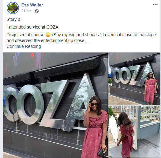 Ese Walter who first accused Pastor Fatoyinbo of sexual abuse reveals she recently attended COZA in disguise, shares her reason lindaikejisblog 1