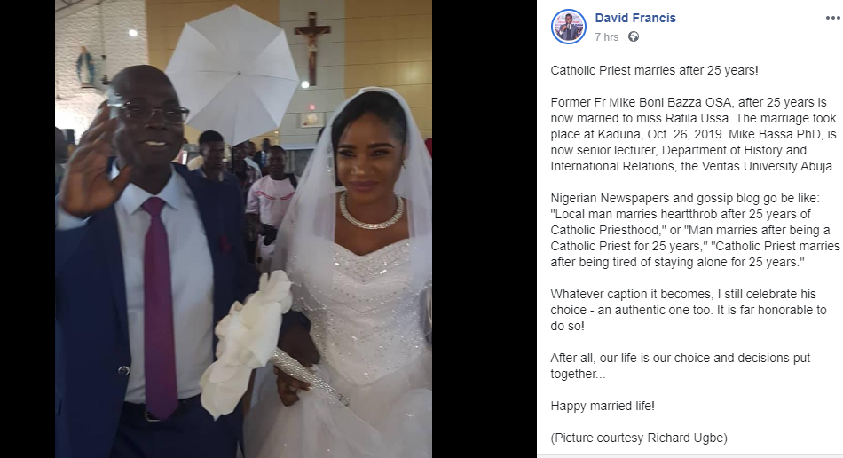 Photos from wedding ceremony of former Catholic Priest of 25 years in Kaduna lindaikejisblog