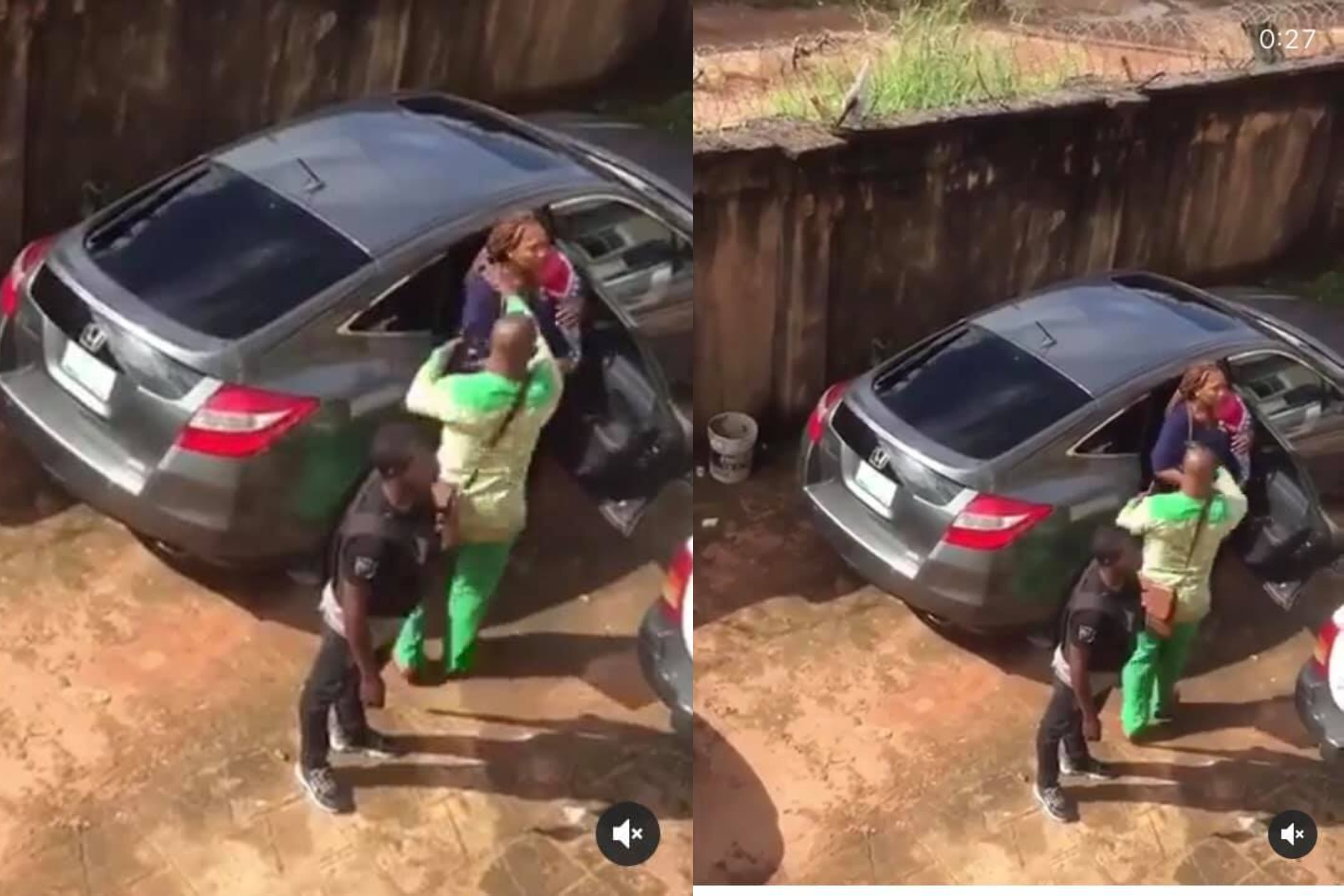 Policemen spotted assaulting a nursing mother carrying her two months old baby in Owerri lindaikejisblog