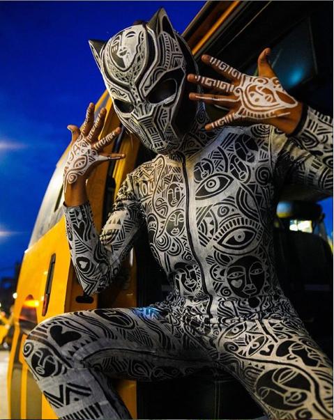 BBNaija star Kim Oprah slays in Black Panther custom-printed dress for Halloween(photos)