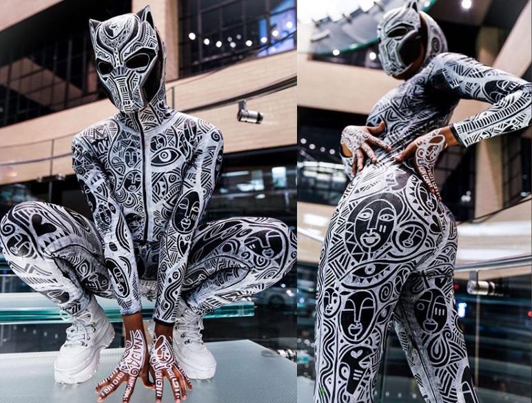 BBNaija star Kim Oprah slays in Black Panther custom-printed dress for Halloween(photos) BBNaija star Kim Oprah slays in Black Panther custom-printed dress for Halloween(Photos)