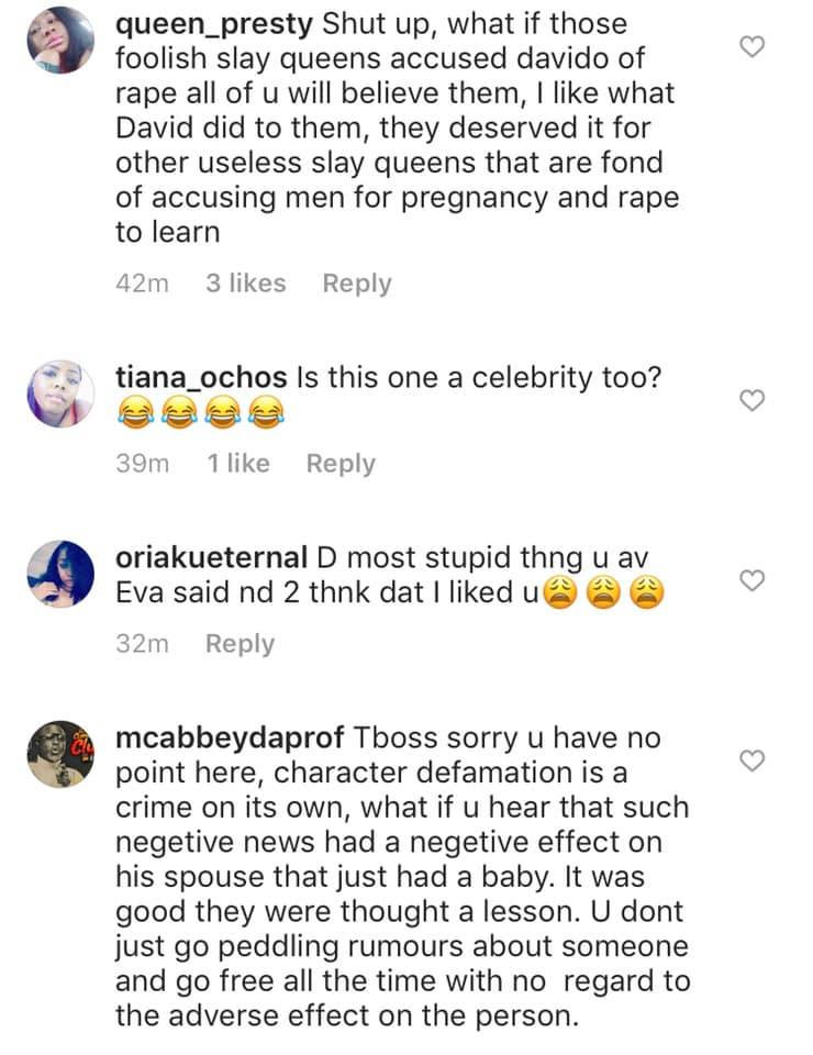 Tboss called out by Nigerians for saying that Davido acted primitively by putting girls that accused of him of 'pregnancy' in handcuff lindaikejisblog 11