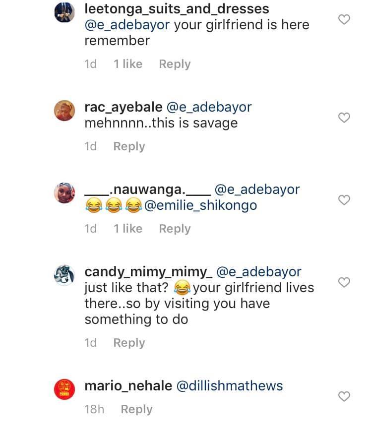 Emmanuel Adebayor and Dillish Mathews split lindaikejisblog 2