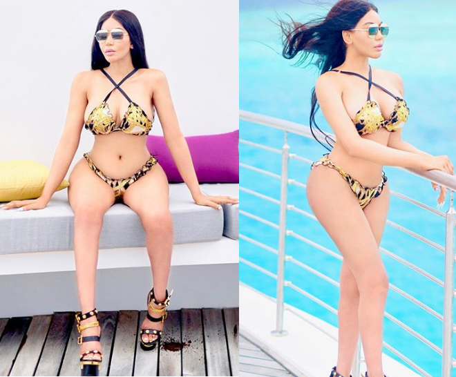 Dencia poses in Versace bikini and Christian Dior sandals