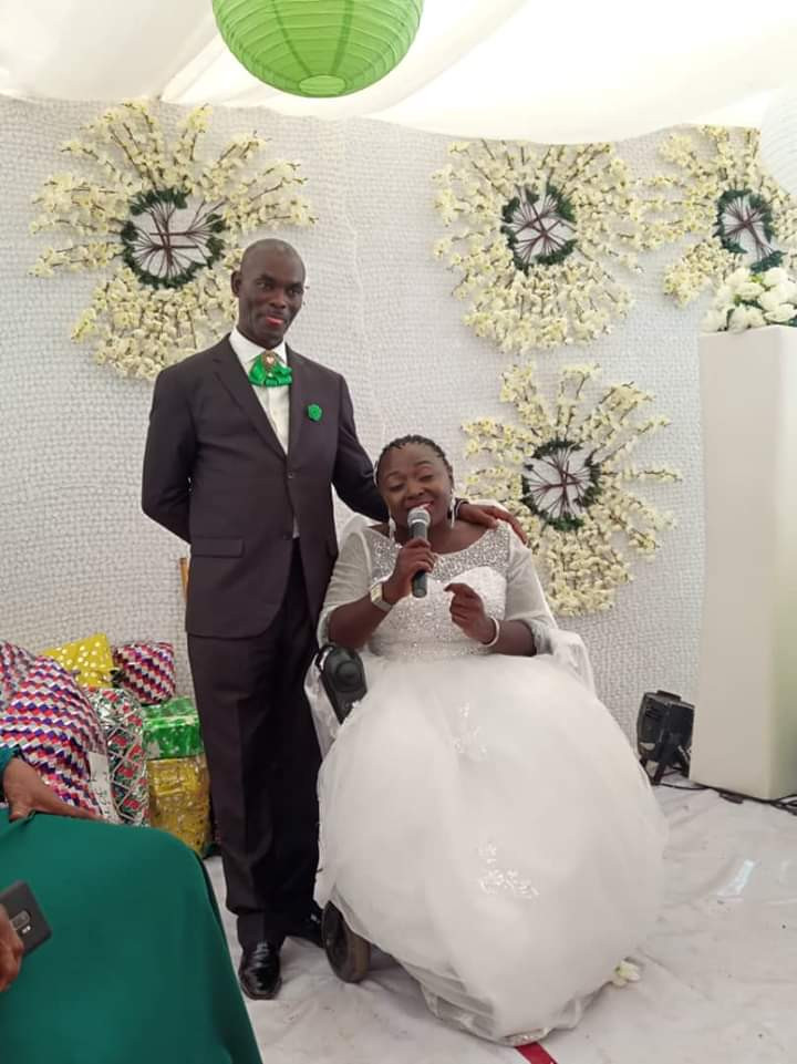 Nigerian lady in wheelchair weds her husband in Abuja with a bridal train of ladies on wheelchair lindaikejisblog 4
