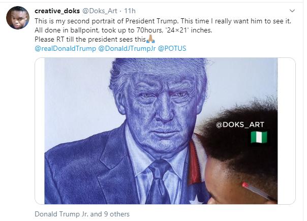 Never give up - President Trump tells Nigerian boy who drew his portrait lindaikejisblog 1