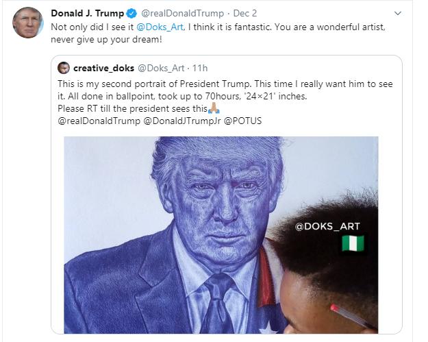 Never give up - President Trump tells Nigerian boy who drew his portrait lindaikejisblog 2
