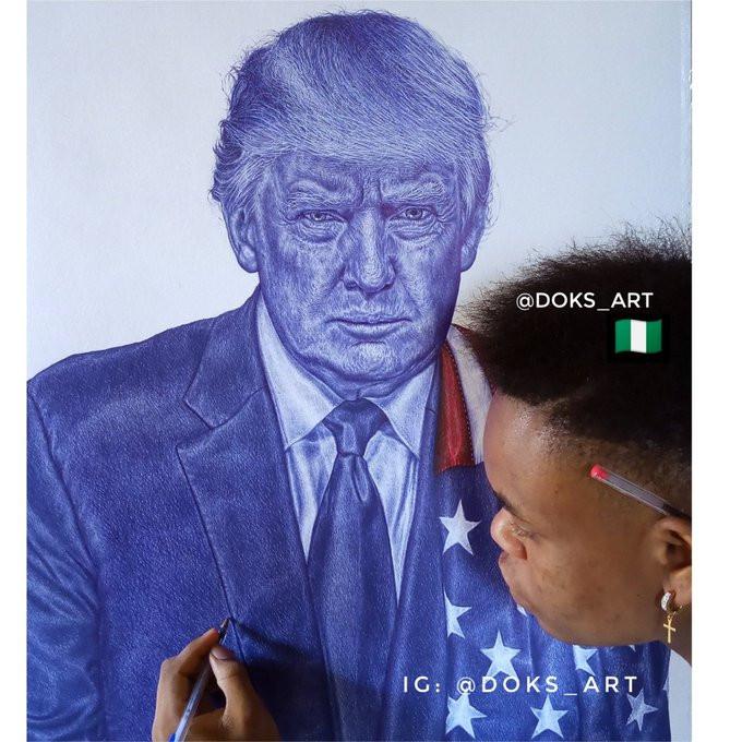 Never give up - President Trump tells Nigerian boy who drew his portrait lindaikejisblog