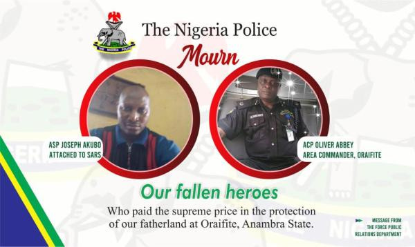 Police releases names of officers killed by IPOB members during raid at home of Nnamdi Kanu's lawyer lindaikejisblog
