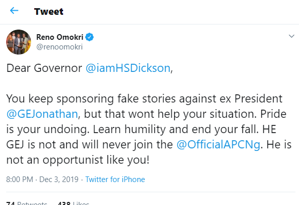 Dear Governor Dickson, pride is your undoing and stop sponsoring fake stories against Goodluck Jonathan- Reno Omokri