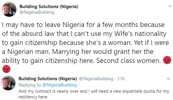 Caucasian man married to a Nigerian woman laments about our laws which prevents anyone from becoming a Nigerian just by marriage