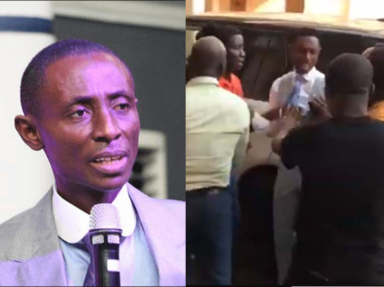 Moment Ghanaian Pastor Kelvin Kobiri was attacked by members over claims he issued dud cheques to them after they invested in his companies (Video)