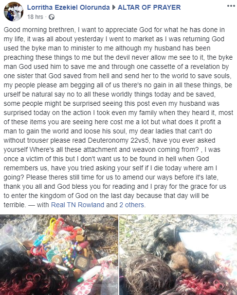 Nigerian lady burns her wigs, makeup kit and clothes after giving her life lindaikejisblog 2