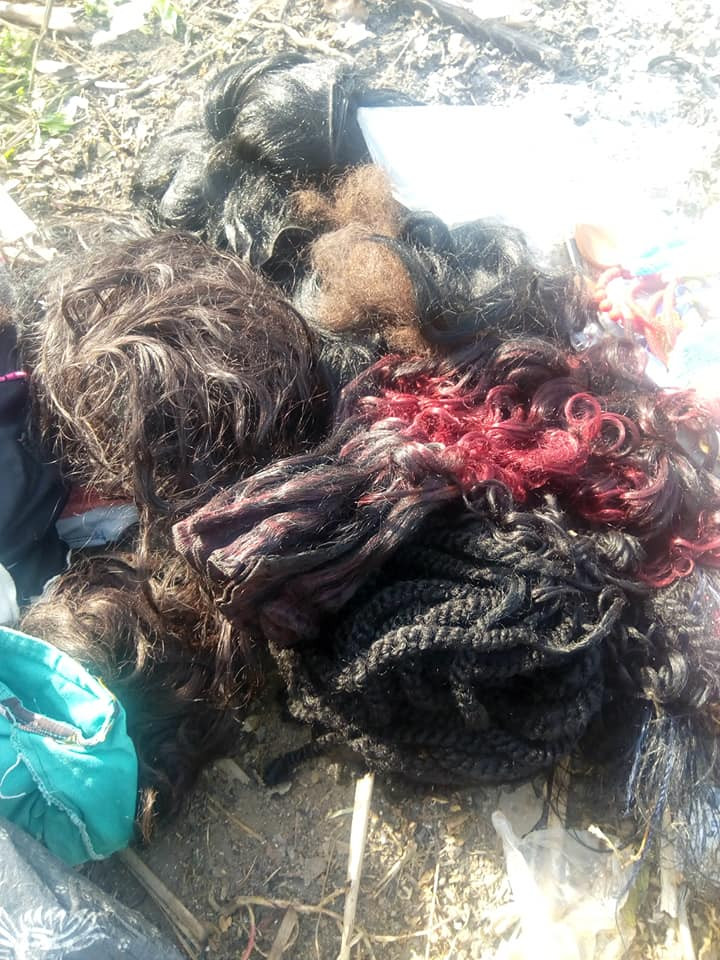 Nigerian lady burns her wigs, makeup kit and clothes after giving her life lindaikejisblog 3
