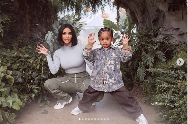 Kim Kardashian shares never-before-seen photos from her son Saint's dinosaur-themed birthday bash
