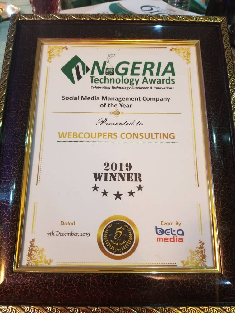 Webcoupers Consulting Bags Social Media Management Company Of The Year Award