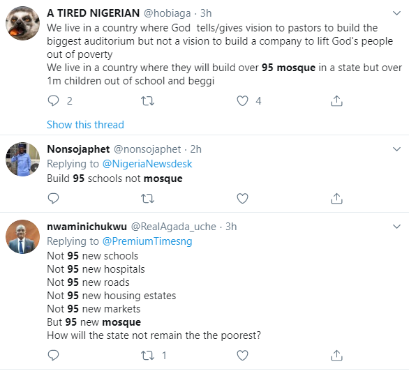 """Build 95 schools not mosques"" Nigerians react to news that Jigawa government is set to build 95 mosques in the state"
