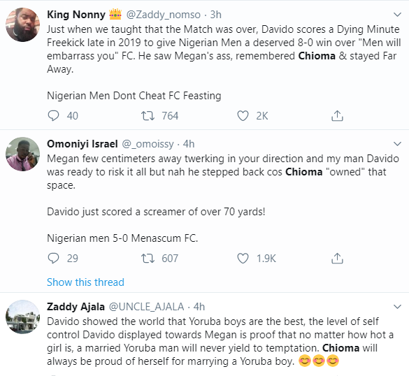 ''He respects Chioma'' Twitter users react to video of Davido refusing to grind Meghan Thee Stallion's massive behind during a performance