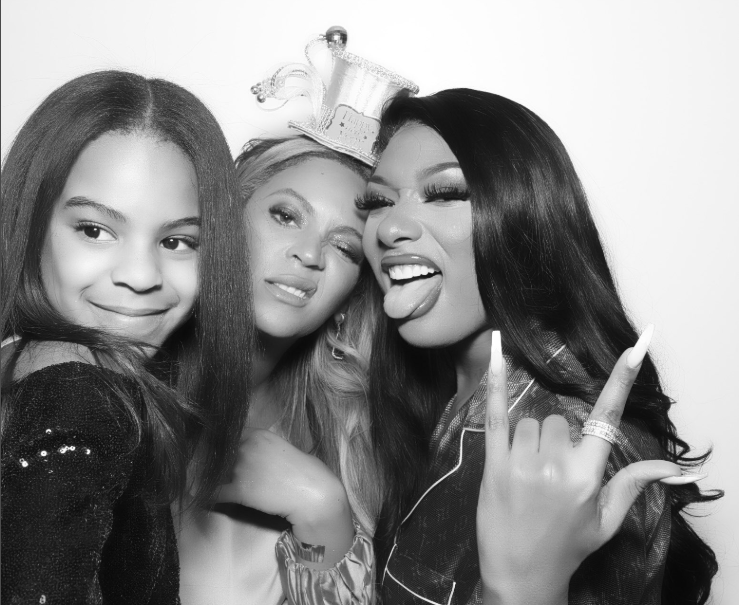 Blue Ivy looks so grown as she poses with mum Beyonce and Meghan Thee Stallion