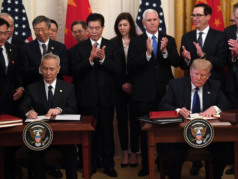US' Donald Trump, Chinese Vice Premier finally sign 'phase one' of trade deal following 18months of trade war. 1