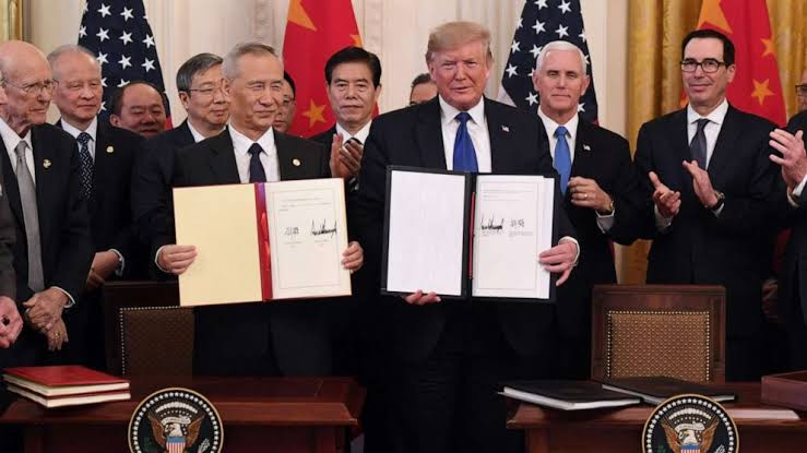 US' Donald Trump, Chinese Vice Premier finally sign 'phase one' of trade deal following 18months of trade war. 2