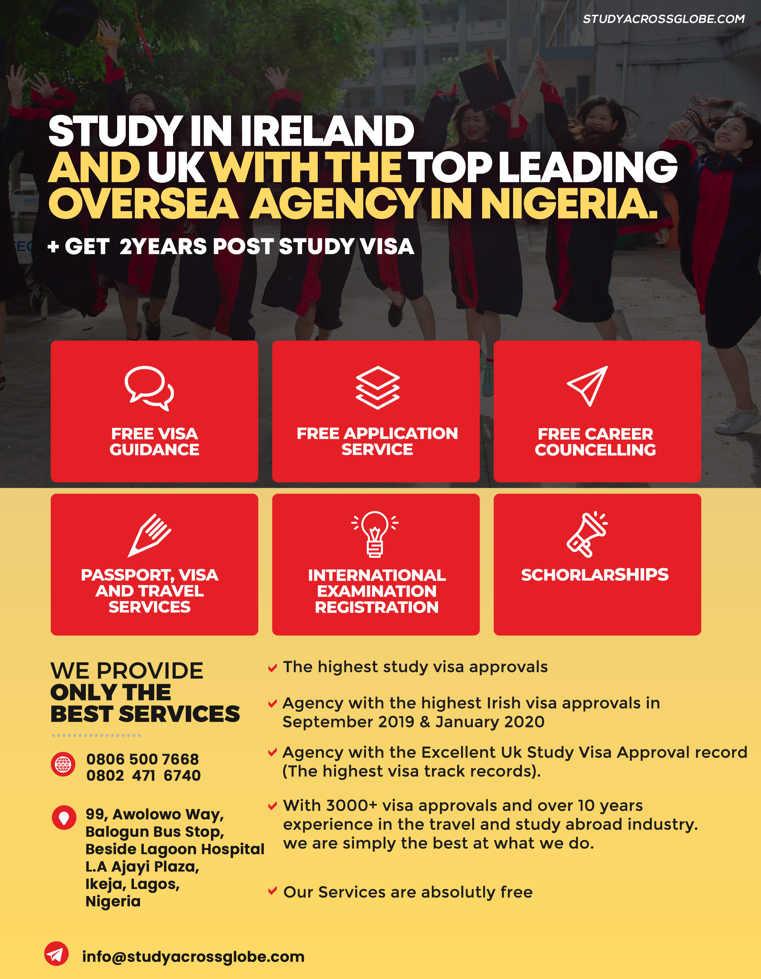 STUDY IN IRELAND AND UK WITH THE TOP LEADING OVERSEA AGENCY IN NIGERIA