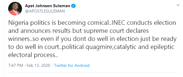 Apostle Suleman mocks Nigerian government as Supreme Court sacks David Lyon as winner of Bayelsa governorship election lindaikejisblog 1