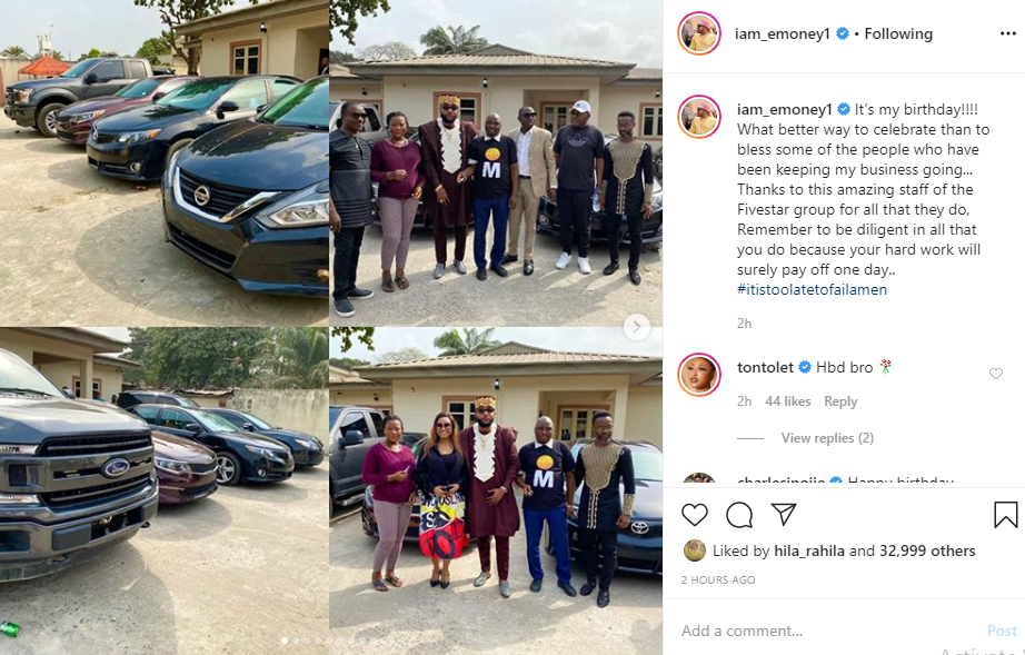 E-Money gives out cars to his staff on his birthday lindaikejisblog 1