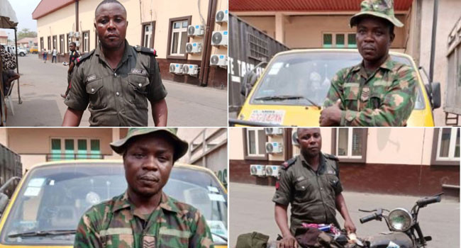 , Okada ban: Fake soldier and policeman arrested  for using 'uniforms' to  scout for passengers on restricted routes in Lagos, All9ja, All9ja
