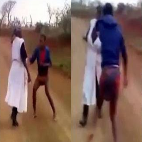 Lady seen flogging her mother after her pastor accused her of being a witch (video)