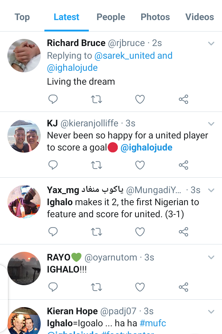 Twitter reacts as Odion Ighalo score his first goal for Man Utd. 1