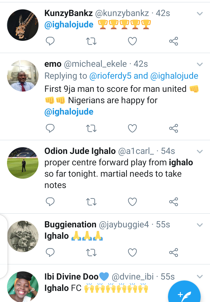 Twitter reacts as Odion Ighalo score his first goal for Man Utd. 6
