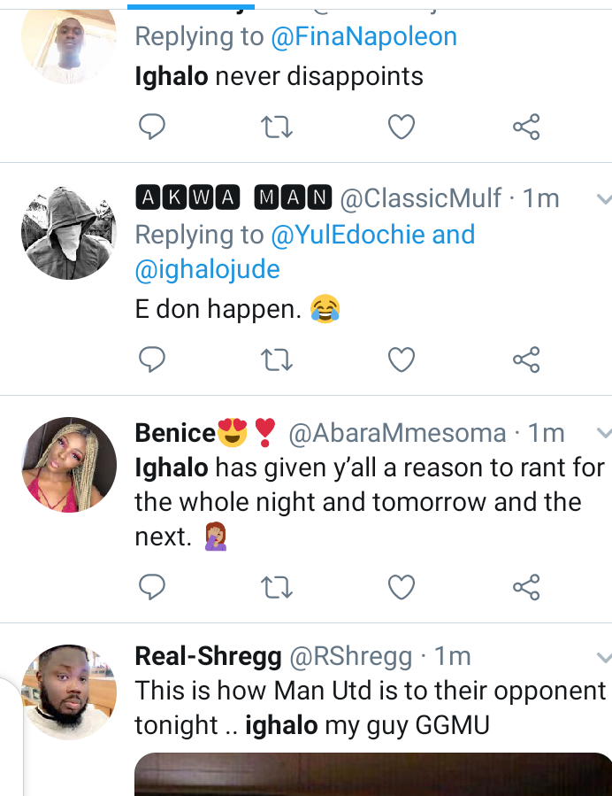 Twitter reacts as Odion Ighalo score his first goal for Man Utd. 7