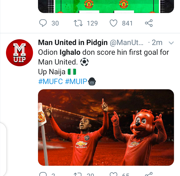 Twitter reacts as Odion Ighalo score his first goal for Man Utd. 8
