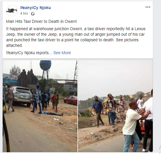 Man punches taxi driver to death in Owerri lindaikejisblog 1