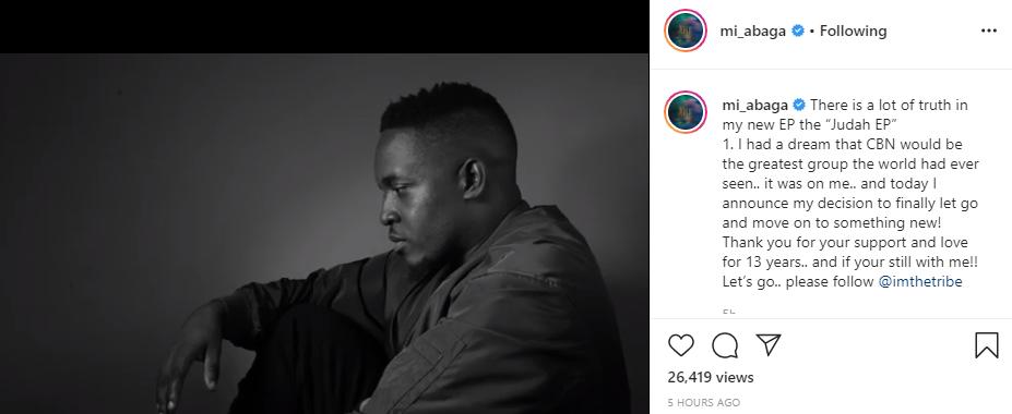Rapper, MI Abaga leaves Chocolate City after 13 years lindaikejisblog 1