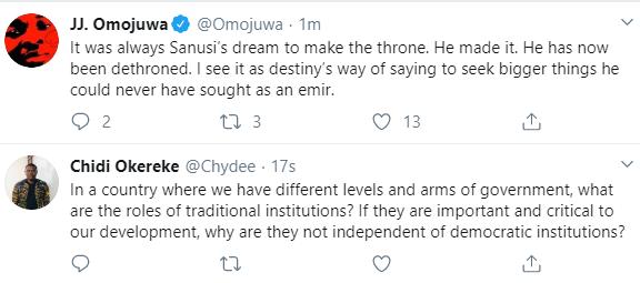 Nigerians react as Kano state governor Ganduje dethrones Emir Sanusi, All9ja