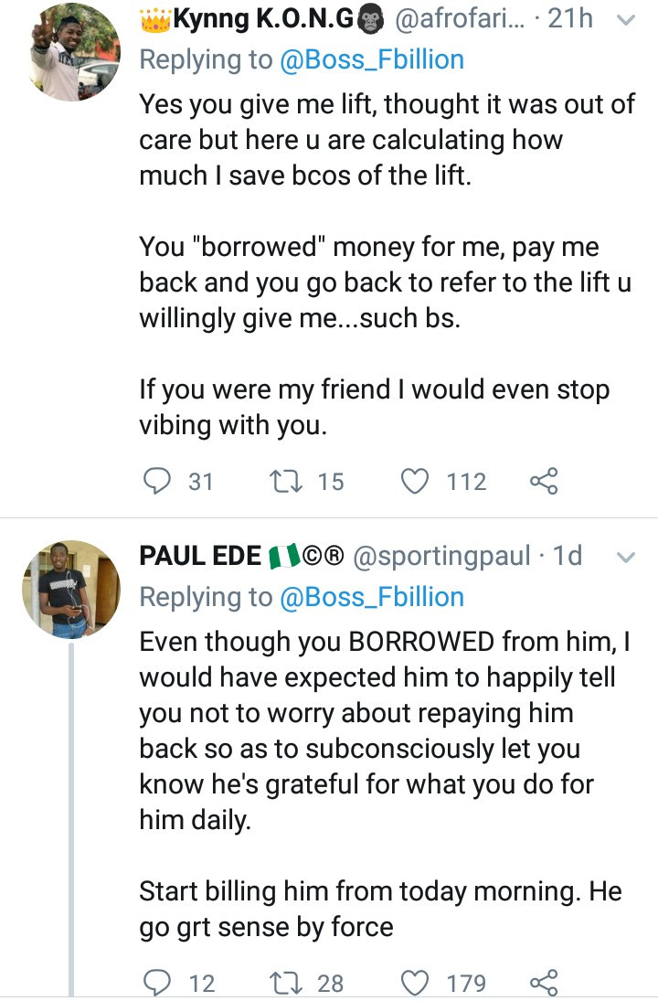 Man ignites debate after narrating how a man he offers free ride home daily insisted on collecting back the 500 Naira he borrowed from him, All9ja
