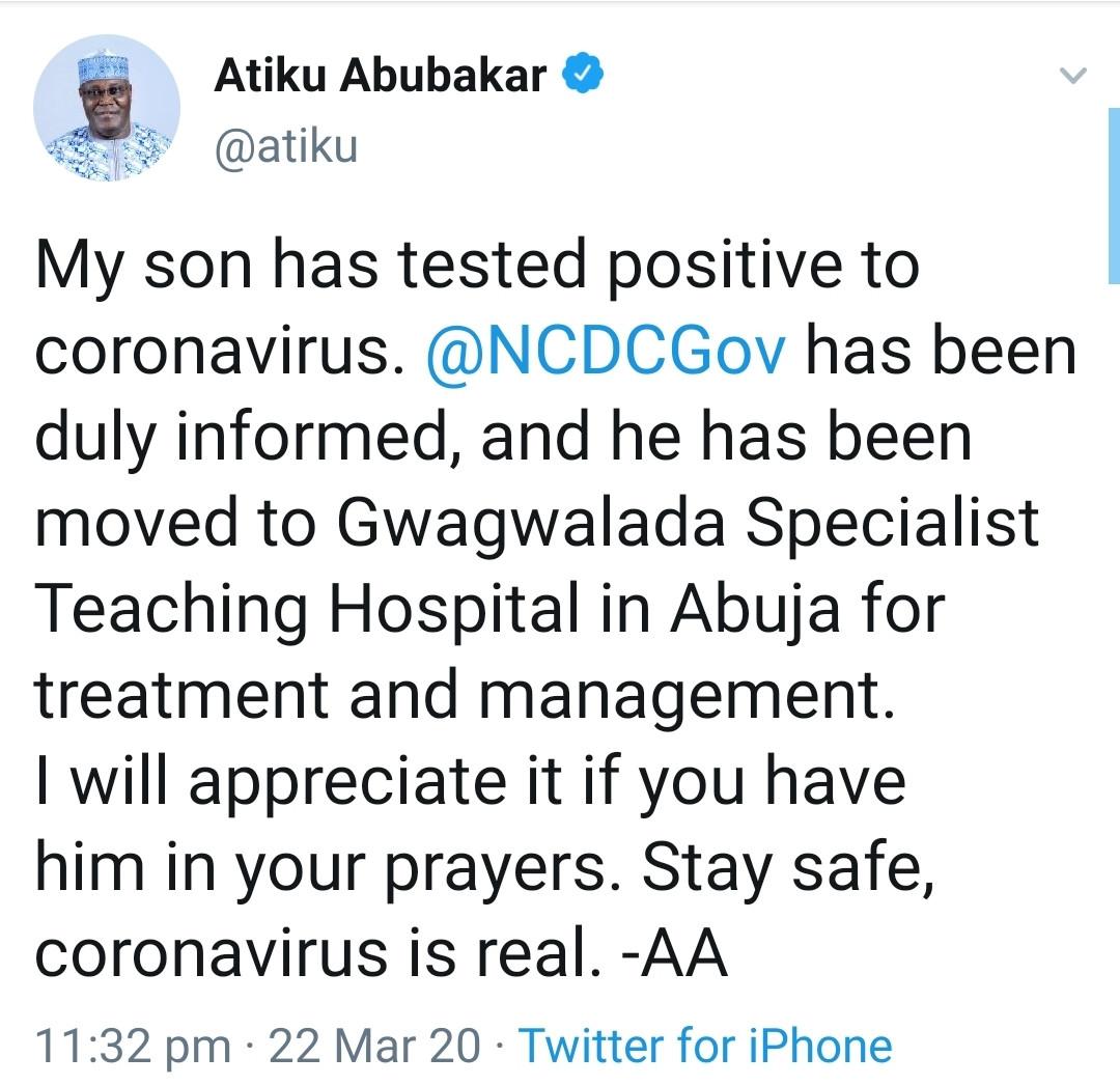 Atiku Abubakar's child tests positive to Coronavirus