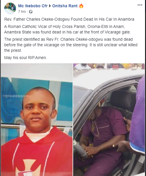 Catholic Priest found dead in his car in Anambra lindaikejisblog  1