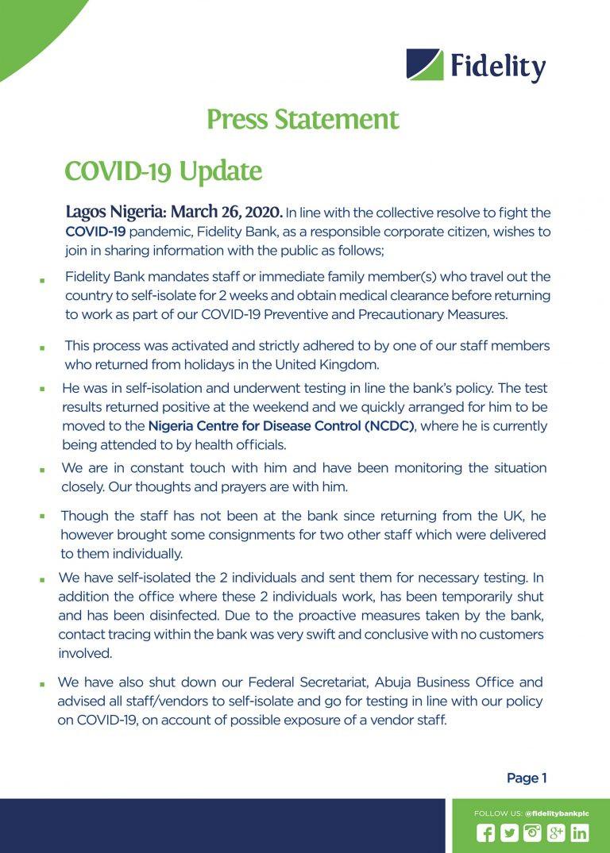 Fidelity Bank staff tests positive for coronavirus lindaikejisblog 1