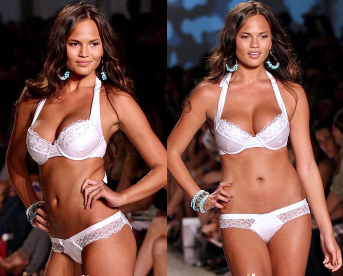 'Happy 10 year anniversary to these titties' - Chrissy Teigen marks 10th anniversary of her breast implants with runway photos