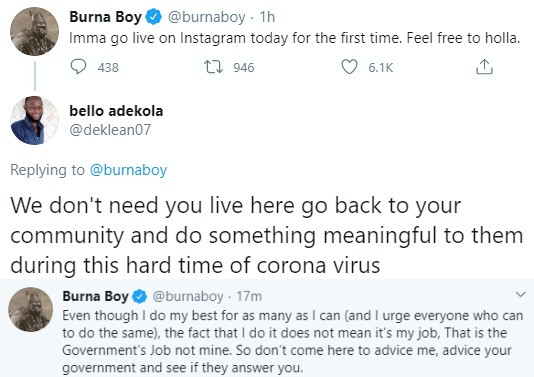 It is the government's job to make lives better not mine – Burna Boy, All9ja