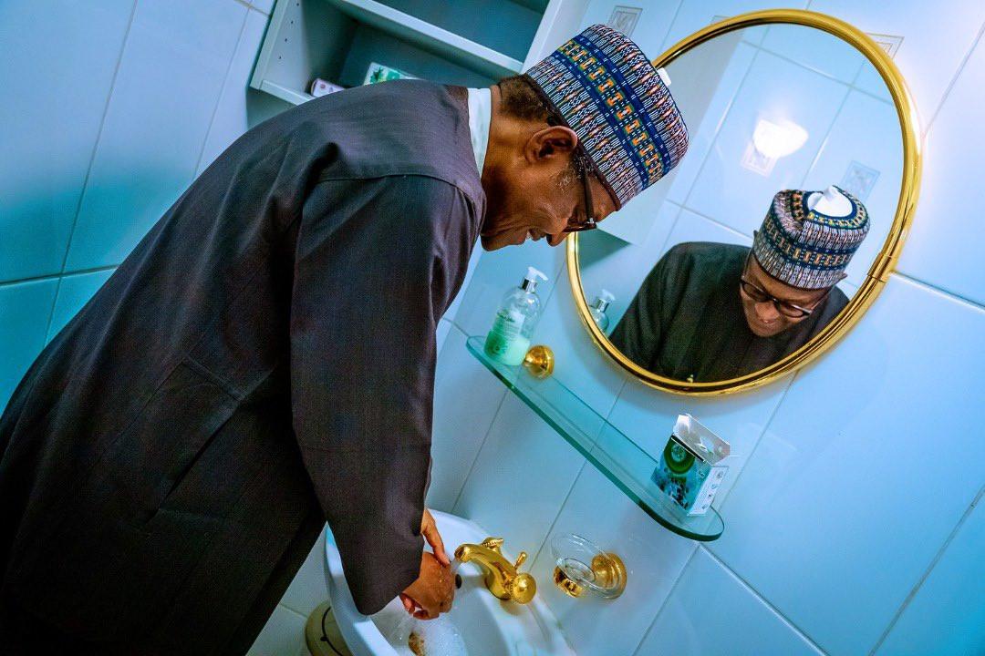 Coronavirus:  Presidency releases photos of President Buhari washing his hands, All9ja