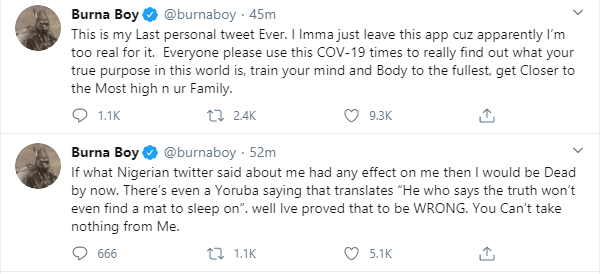 If what Nigerian twitter said about me had any effect on me then I would be dead by now - Burna Boy says as he quits Twitter again lindaikejisblog 1