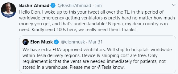 President Buhari's PA, Bashir Ahmad also tweets at Elon Musk to ask for ventilators after Ministry of Finance tweeted at the billionaire to 'come to our aid', All9ja