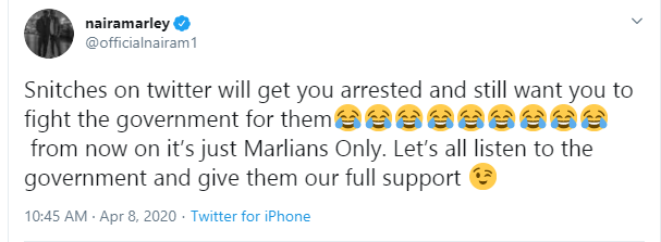 Snitches on Twitter will get you arrested and still want you to fight government- Naira Marley writes after arrest for attending Funke Akindele's houseparty lindaikejisblog 1