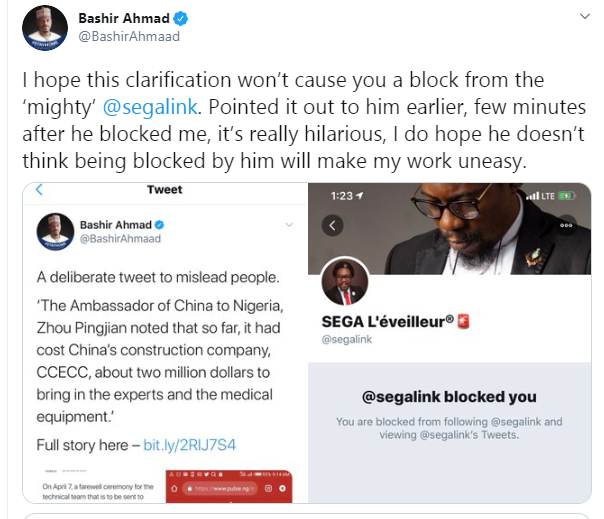 Chinese Govt are treating Nigerians like Dogs and you're masturbating over their Greek gift - Activist, Segalink drags Presidential aide, Bashir Ahmad lindaikejisblog 2